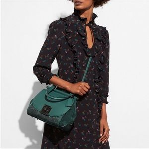 Coach Drifter Top Handle Leather Suede Snake Green